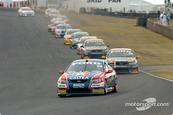 Russell Ingall made up the five Fords that lead from the front
