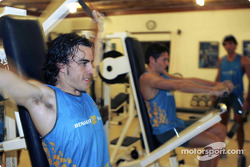 Fernando Alonso at work in the gym