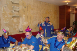 Kamaz-Master team members celebrate before the start