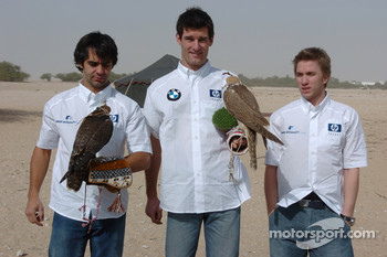 Antonio Pizzonia, Mark Webber and Nick Heidfeld with falcons