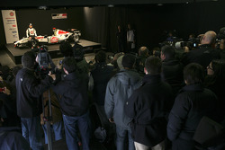 Jenson Button on stage with the new BAR Honda 007