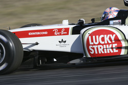 Anthony Davidson tests the new BAR Honda 007 while the heli-cam is shooting