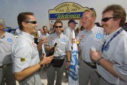 Podium celebrations at Volkswagen Motorsport