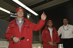 Ralf Schumacher and Jarno Trulli spoke to fans at the Toyota F1 factory