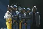 Heikki Kovalainen, Patrick Faure, Franck Montagny, Fernando Alonso, Giancarlo Fisichella and Flavio Briatore