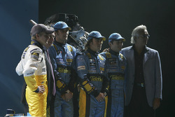 Heikki Kovalainen, Patrick Faure, Franck Montagny, Fernando Alonso, Giancarlo Fisichella and Flavio Briatore
