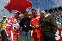 Rubens Barrichello with his father, his physiotherapist and Fred della Noce