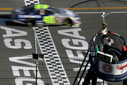 Jimmie Johnson takes the checkered flag