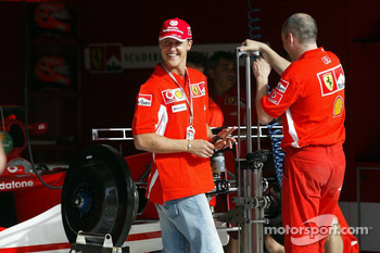 Michael Schumacher inspects the new Ferrari F2005