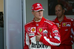 Michael Schumacher at the press conference after retiring from the race