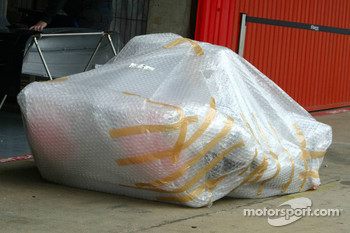Red Bull Racing parts in bubble wrap