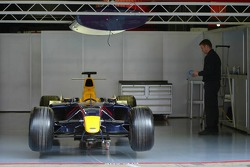 Red Bull Racing car sits in the garage