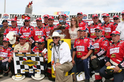 Victory lane: race winner Greg Biffle celebrates with his crew