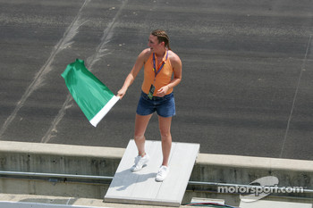 Jodi Howell, 2005 Indiana Miss Basketball waves the green flag to start the practice session