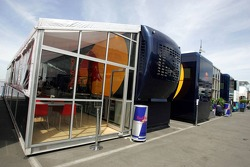 The old Jaguar hospitality for Red Bull Racing this weekend