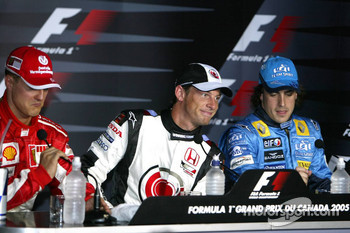 Press conference: pole winner Jenson Button with Michael Schumacher and Fernando Alonso