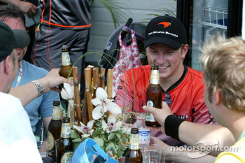 Kimi Raikkonen celebrates victory with friends