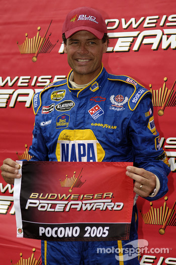 Pole winner Michael Waltrip celebrates