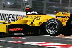 Tiago Monteiro flies over a speed bump