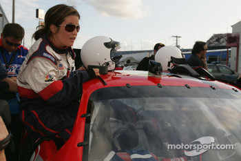 Lisa Marie Presley climbs into a car prior to the start of the Winn Dixie 250
