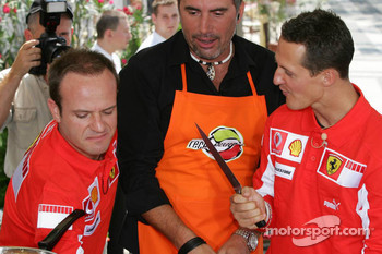 Vodafone event at the Intercontinental hotel: Rubens Barrichello and Michael Schumacher