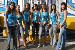 Renault girls at the new Renault F1 hospitality area