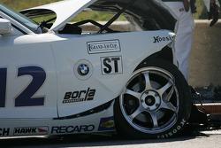 The wrecked TC Kline Racing BMW Z4