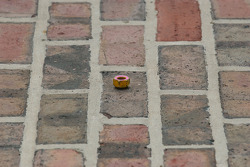 A lugnut left on the yard of bricks