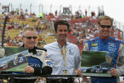 Mark Martin and Rusty Wallace accept gifts for their last Cup run at Watkins Glen