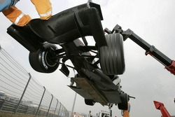 The McLaren of Pedro de la Rosa stopped on the track