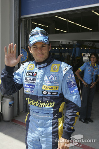 Giancarlo Fisichella celebrates second place qualifying