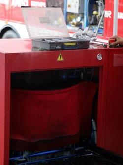 Tire washing machine at Ferrari