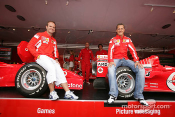 Vodafone race event in Milan: Rubens Barrichello and Michael Schumacher