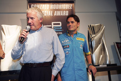Winner Charlie Whiting accepts the Gonzalo Rodriguez Special Award