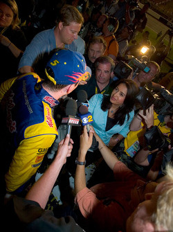 Kyle Busch interviewd by the local television media