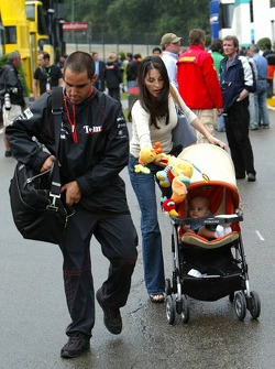 Juan Pablo Montoya with wife Connie and baby boy Sebastien