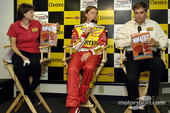 Evernham Motorsports announce plans for Erin Crocker to drive the #98 Cheerio's/Betty Crocker Dodge in the NASCAR Busch Series for the 2006 season: Laurie Greeno of General Mills, Erin Crocker and Ray Evernham