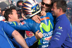Race winner Marco Melandri celebrates with Fausto Gresini