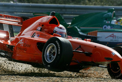 Jos Verstappen after his crash with Adrian Sutil