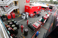 Ferrari and Scuderia Toro Rosso pack up at the end of testing