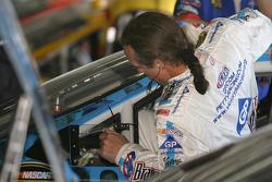 Kyle Petty climbs aboard his car