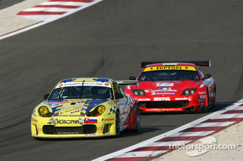 #57 Autoracing Club Bratislava Porsche 996 GT3 RSR: Stefan Rosina, Miro Konopka, #12 Larbre Competition Ferrari 550 Maranello: Steve Zacchia, Roland Berville, Raymond Narac