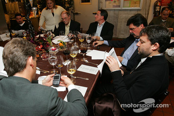 Tony Stewart looks over his Champions Week schedule during the dinner on Sunday night at the Waldorf-Astoria
