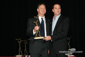 Brian France, Chairman and CEO of NASCAR and Jimmie Johnson driver of the #48 Lowe's Chevrolet during the March of Dimes Awards at the Waldorf Astoria Hotel in New York City