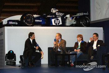 Prof Burkard Goeschel (Board member for Development BMW Group), Nick Heidfeld BMW WilliamsF1 Team driver 2005 and Dr Mario Theissen (BMW Motorsport Director) interviewed by Sebastian Hellmann
