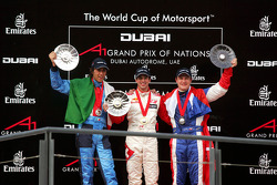 Podium: race winner Neel Jani with Enrico Toccacelo and Tomas Enge