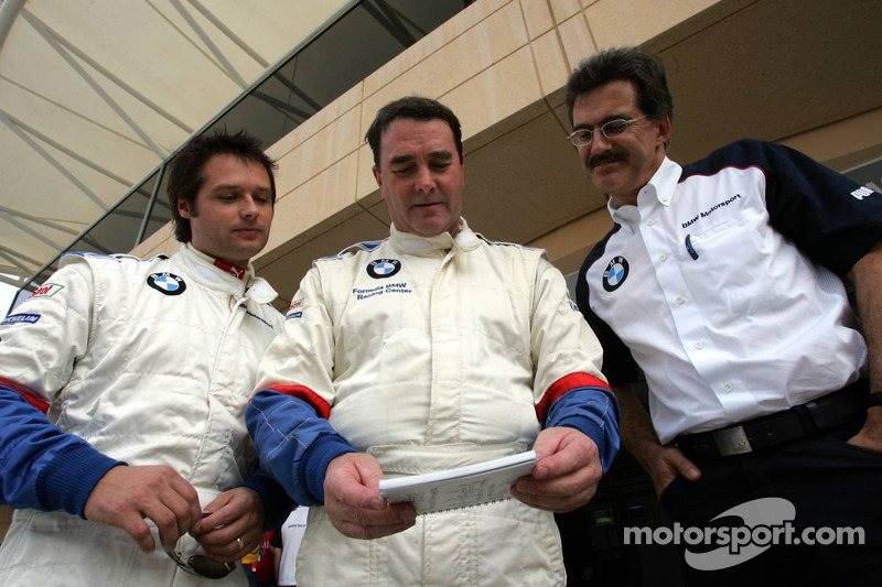 BMW race car training: Andy Priaulx, Nigel Mansell and Dr Mario Theissen