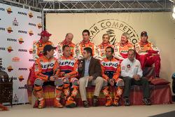 Team Repsol presentation in Madrid: Stéphane Peterhansel, Jean-Paul Cottret, Luc Alphand, Gilles Picard, Nani Roma, Henri Magne, Marc Coma, Giovanni Sala and Carlo de Gavardo
