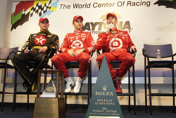 Post-race press conference for Rolex 24 at Daytona overall winners: Dan Wheldon, Scott Dixon, Casey Mears