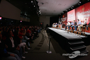 Budweiser Shootout drivers on stage